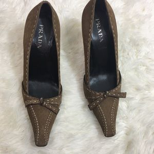 Prada suede leather pointed toe high heels 5.5 tan